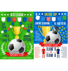 Posters for soccer sport football game vector