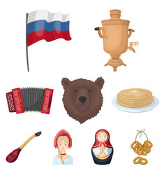 russia country set icons in cartoon style big vector image
