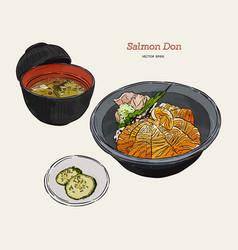 Salmon donburi set hand draw sketch vector