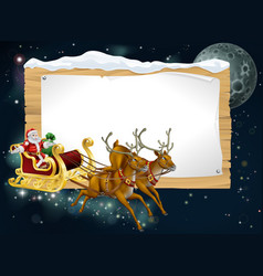 santa christmas sleigh background vector image