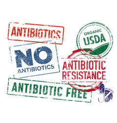 Set grunge rubber antibiotics stamps grunge vector