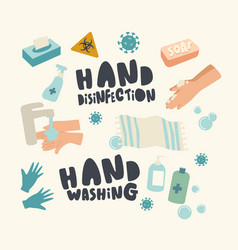 set icons hands disinfection theme sanitizer vector image