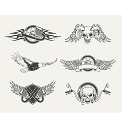 set motorcycle emblems badges labels and vector image
