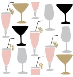 Set of hand drawn alcoholic drinks cocktails vector