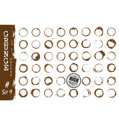 Set of realistic grunge elements stained coffee vector