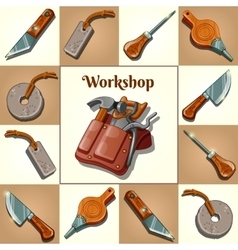 Set of tools piercing and cutting instruments vector image