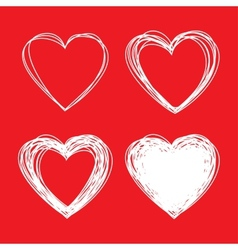 Set of White Hand Drawn Scribble Hearts vector image