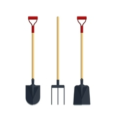 Set pitchfork shovel spade flat tool icon logo vector