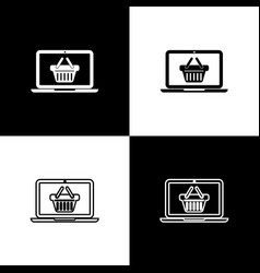 set shopping basket on screen laptop icons vector image