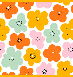 simple fun abstract floral doodle pattern big vector image