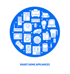 Smart home appliances round poster template with vector