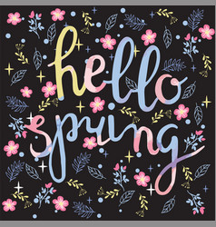 spring background with flowers and hello spring vector image