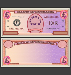 stylistic orange banknote blank with pound sign vector image