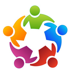 teamwork group people working together logo vector image