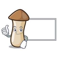 Thumbs up with board pleurotus erynggi mushroom vector