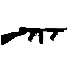 Tommy gun silhouette vector
