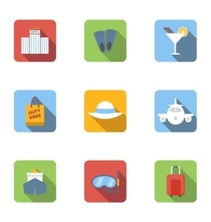 Trip to sea icons set flat style vector