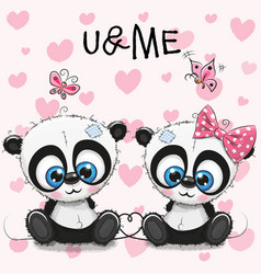 two cute pandas on a hearts background vector image