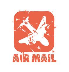 Vintage postage air mail stamp vector