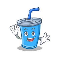 Waving soda drink character cartoon vector