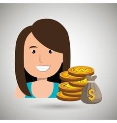 woman with bag coins isolated icon design vector image