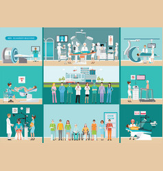 doctors and patients in hospitals vector image vector image