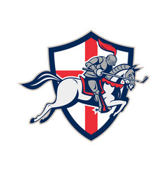 english knight golf club lance shield retro vector image vector image