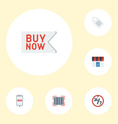 Flat icons support purchase label and other vector