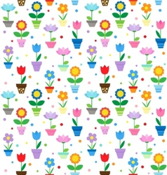 flowers in pots pattern vector image vector image