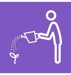 Man Watering Plant vector image vector image