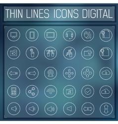 thin line digital gadget set icons concept vector image vector image