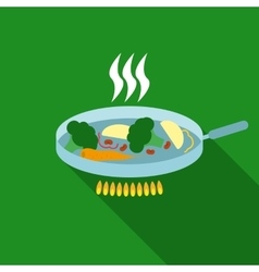 Vegetables in Pan Flat Style vector image
