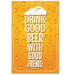 Beer Glass Logo Design Concept Slogan Background vector image vector image