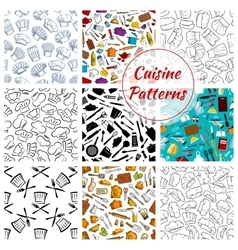 Cuisine kitchenware seamless pattern vector image vector image