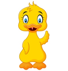 Cute baby duck hand waving isolated vector image