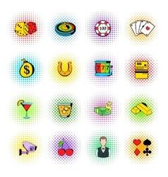 Gambling icons set comics style vector image vector image