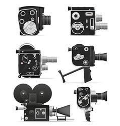 old retro vintage movie video camera 06 vector image vector image