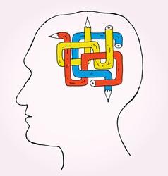 pencil brain kopie vector image