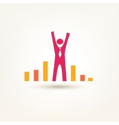 businessman and chart flat symbol success and win vector image