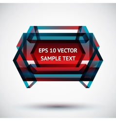 Colorful geometric badge with shadow and light vector image