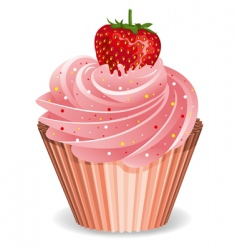 cupcake with strawberry vector image vector image