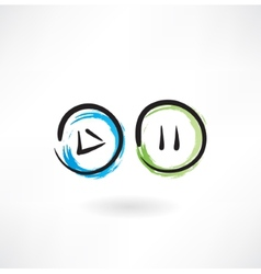play pause buttons grunge icon vector image vector image