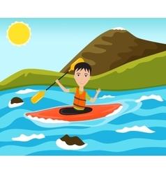Rafting and kayaking sport vector image