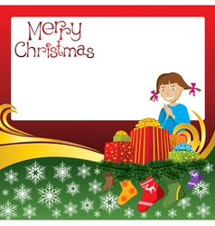 2012 christmas card with girl gifts and socks vector image vector image