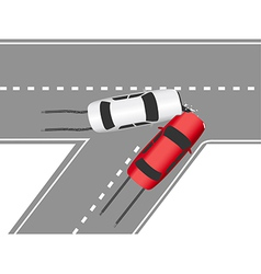 Auto traffic collision road cars vector image