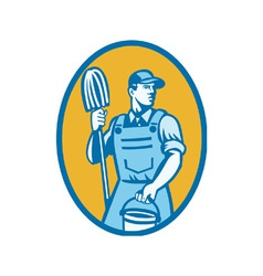 Cleaner With Mop And Pail vector image