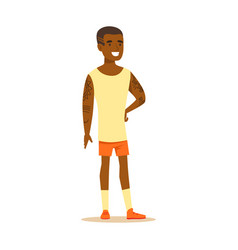 happy young man in shorts and sleeveless shirt vector image vector image
