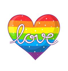Love lettering on rainbow heart vector