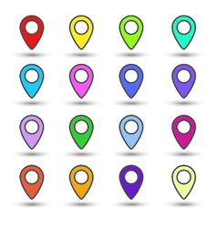 Set of colour map location signs markers vector image vector image