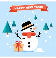 Snowman Flat Card vector image vector image